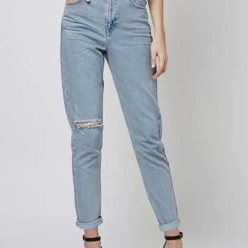 MOTO Bleach Rip Mom Jeans - Topshop