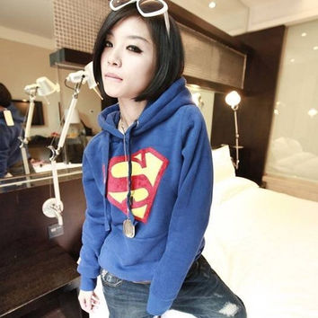 Hot Women New SuperMan Hoodie Fleece Pullover Tops Sweatshirts 8477 X = 1920177604