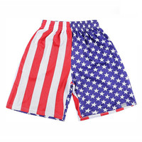 [Mikeal] American fashion basketball shorts men mesh breathable sport joggers print USA flag Stars striped short pants S12