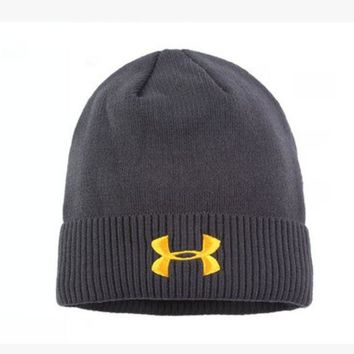 CREY9N Under Armour Women Men Embroidery Warm Earmuffs Ski Cap Sport Hat