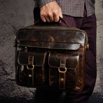 """Mens Genuine Real Leather Antique Style Briefcases Business 13"""" Laptop Cases Attache Portfolio Bags Tote B20"""