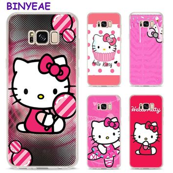 BINYEAE Pink Hello kitty cat Style Clear Soft TPU Phone Cases For Samsung Galaxy S9 S8 Plus S7 S6 S5 S4 Mini Edge