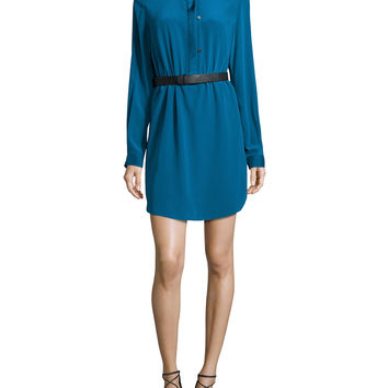 Long-Sleeve Belted Shirtdress, Dark Teal, Size: