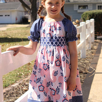 Devin Dress - Peasant Short Sleeve Navy and Pink Floral Dress