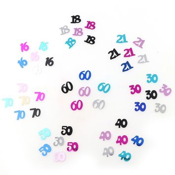 Number 16 18 30 60 Years Old Metallic Confetti Happy Birthday / 25 options
