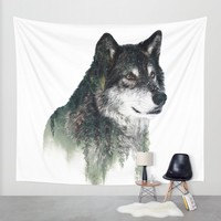 WOLF Wall Tapestry by RIZA PEKER