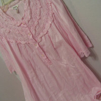 Pink Night Gown Long  Neiman Marcus Of the Finest Softest  Pima 100% Cotton