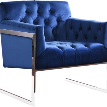 Riley Navy Velvet Accent Chair