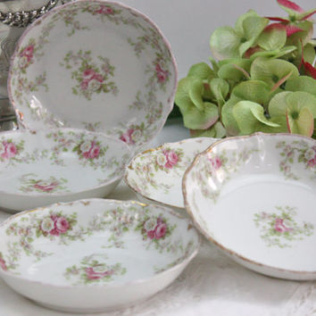 Limoges Dessert Bowls / SET of 5 / Pink and White Roses / Elite Works (Bawo & Dotter)