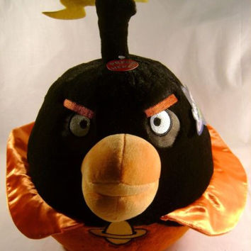 "Angry Bird Space Plush Bomb Black 12"" Sound Rovio Entertainment Doll Toy License"