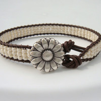 Pearl Seed Beaded Leather Bracelet with Daisy Button