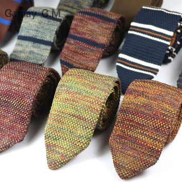New Fashion Sharp Men's Tie Knitted Ties Mens Casual Striped Knit Necktie for Wedding Slim Skinny Woven Cravate Narrow Neckties