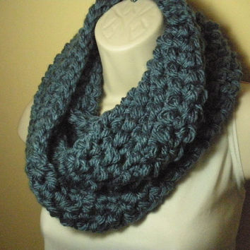 Denim Blue Cowl Infinity Circl Scarf Neckwarmer Extra Bulky Extra Thick