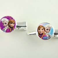 Made to Order Frozen Silver Cabochon Hair Slides  Two in set. ET 9093363