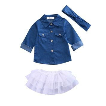 3Pcs Jeans Denim baby clothes set Summer Kids Girls Jeans Tops+Tutu skirts +headband Outfits Set