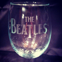 The Beatles etched wine glass perfect for music lovers!
