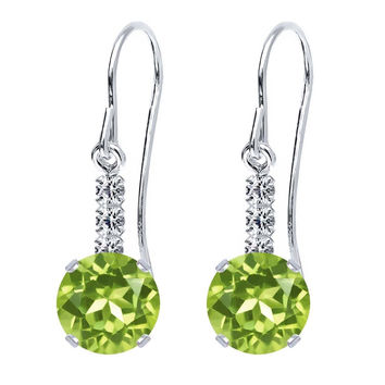 2.92 Ct Round Green Peridot 925 Sterling Silver Earrings