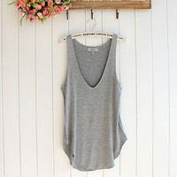 Fashion Summer Woman Lady Sleeveless V-Neck Candy Vest Loose Tank Tops T-shirt (Black)