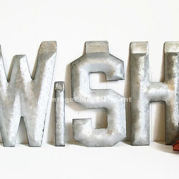 Antique Metal Letters WISH Metal Sign Vintage Marquee Shop VintageEmbellishment