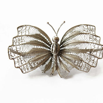 Vintage Silver Butterfly Brooch - Silver Filigree Butterfly Brooch - Large Butterfly Brooch