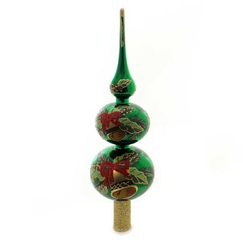 Christina's World HOLLY BELL FINIAL Glass Tree Topper Christmas Fin964