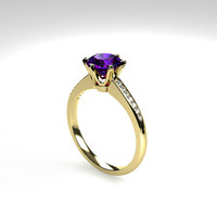Tanzanite engagement ring, diamond ring, solitaire engagement, yellow gold, white gold, tanzanite wedding, purple, vintage style, unique