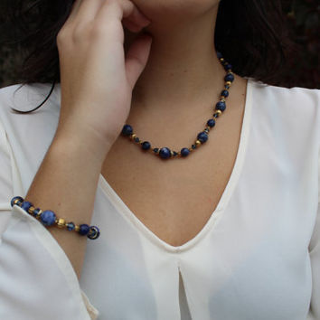 Blue and Gold Jewelry Set, Natural Sodalite with Crystal Jewelry Set, Gift for Wife, Gift for Her, Gift for Mom, Gemstone Jewelry Set