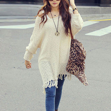 Long Sleeve Fringed Long Sweater