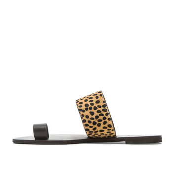 RAYE Sara Cow Hair Sandal in Black & Spotted Pony
