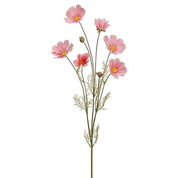 "Artificial Cosmos Flowers in Pink - 31.5"" Tall"