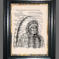 Native American Indian Chief - Vintage Dictionary Book Page Art, Upcycled Book Art Print on Dictionary Page, Indian Chief Print