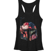 Star Wars Boba Floral Helm Tank Juniors T-Shirt - Licensed
