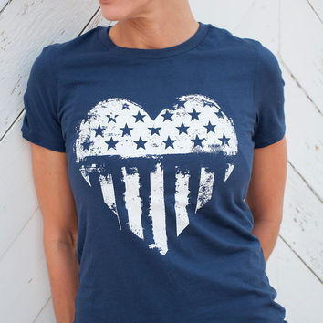 Patriot's Heart - Women's American Flag t-shirt in Navy or Maroon