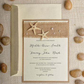 Custom Listing (100) Starfish Wedding Invitation, Beach Wedding Invitation,  Destination Wedding Invitation