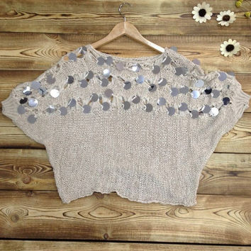 Batwing Sleeves Sequined Cut Out Sweater