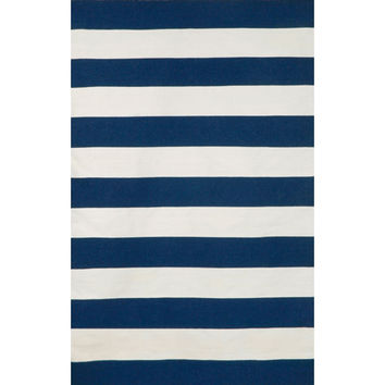 Trans Ocean Import SRN71630233 Sorrento Indoor/Outdoor Rugby Stripe Navy Rectangular: 7 Ft. 6 In. x 9 Ft. 6 In. Indoor/Outdoor Rug - (In Rectangular)