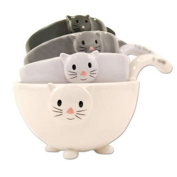 Ceramic Cat Measuring Cups Baking Bowls From Crazy Cat Lady