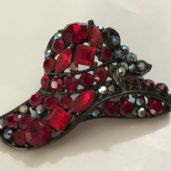 RED HAT SOCIETY Vintage Brooch Pin / Ladies Red Hat Lapel Pin / Antiqued Silver Tone Brooch with Prong Set Gems / Red Crystal Rhinestones