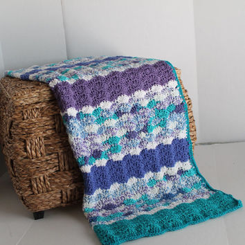 Afghan- Baby Girl Blanket - Shell Pattern - Lapaghan- Throw