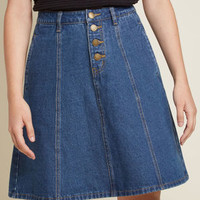 Cute Comeback Denim A-Line Skirt
