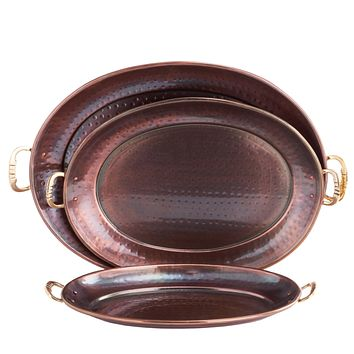 Hammered Décor Antique Copper Oval Trays with Brass Handles Set of 3