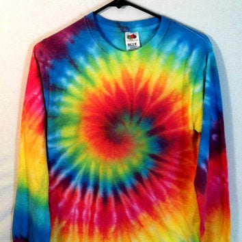 Tie Dye Shirt - Long Sleeve - Rainbow Spiral - 100% Cotton - Mens T-Shirt