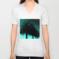 Palm Trees Silhouette - Teal Sunset Unisex V-Neck by Moonshine Paradise