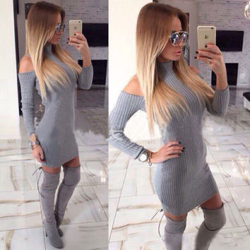 New Arrival Rib Cotton Winter Dress Women Turtleneck Off The Shoulder Sexy Dresses Full Sleeve Elegant Bodycon Sweater Dress