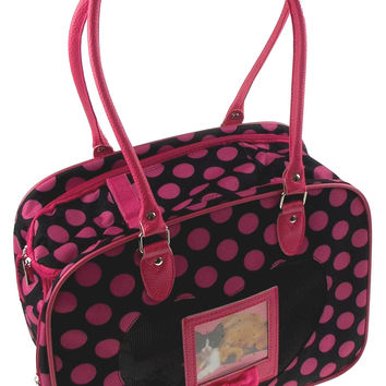 Pet Carrier Travel Bag Black Pink Polka Dots Softsided Shoulder Airline Approved