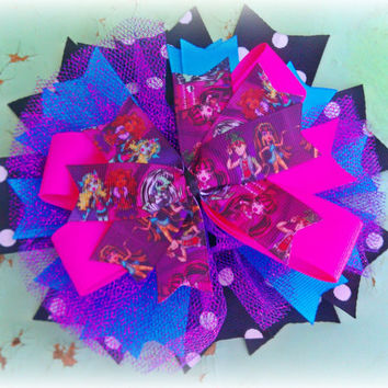 monster high hair bow, rave raver accessories, monster high birthday party, blue hot pink purple, girls hair bow