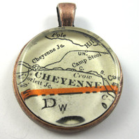 Cheyenne, Wyoming, Pendant from Vintage Map, in Glass Tile Circle
