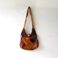 Vintage 70s brown leather patchwork purse. tiny shoulder purse. super small.