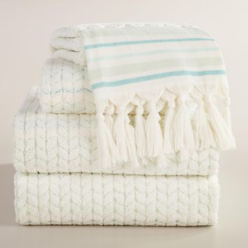 Mint Riley Sculpted Towel Collection