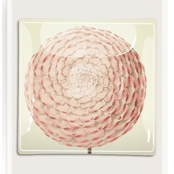 Pink Dahlia Decoupage Glass Tray